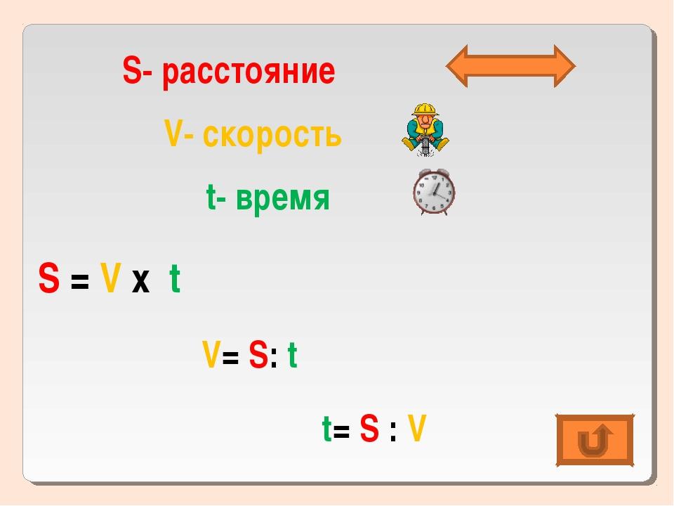 S- расстояние V- скорость t- время S = V х t V= S: t t= S : V
