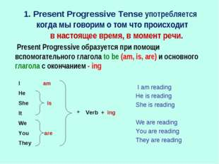 1. Present Progressive Tense употребляется когда мы говорим о том что происхо