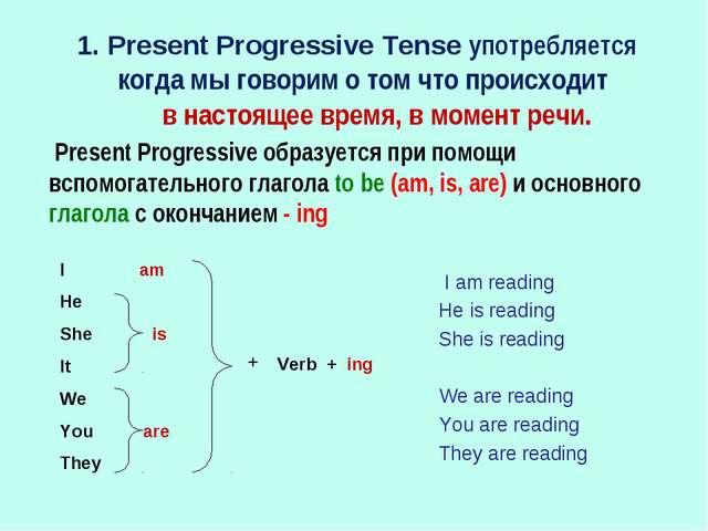 1. Present Progressive Tense употребляется когда мы говорим о том что происхо...