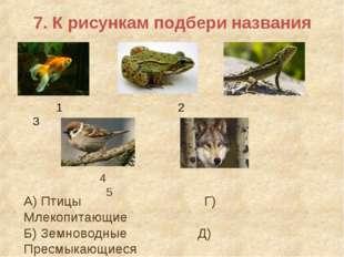 7. К рисункам подбери названия 1 2 3 4 5 А) Птицы Г) Млекопитающие Б) Земново