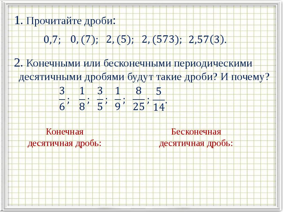 1. Прочитайте дроби: 2. Конечными или бесконечными периодическими десятичным...