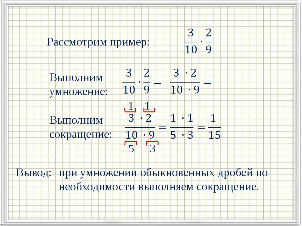 Рассмотрим пример: Выполним умножение: Выполним сокращение: 1 3 1 5 Вывод: п...