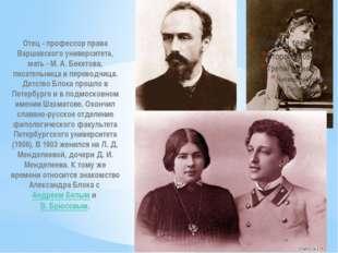 Отец - профессор права Варшавского университета, мать - М. А. Бекетова, писат