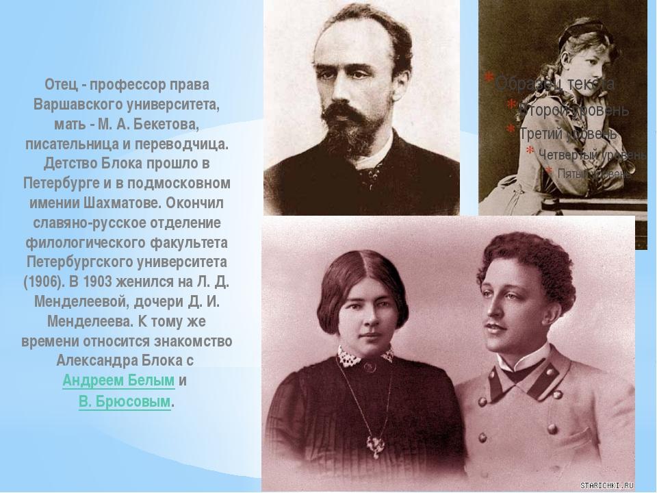 Отец - профессор права Варшавского университета, мать - М. А. Бекетова, писат...