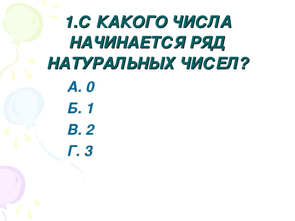 1.С КАКОГО ЧИСЛА НАЧИНАЕТСЯ РЯД НАТУРАЛЬНЫХ ЧИСЕЛ? А. 0 Б. 1 В. 2 Г. 3