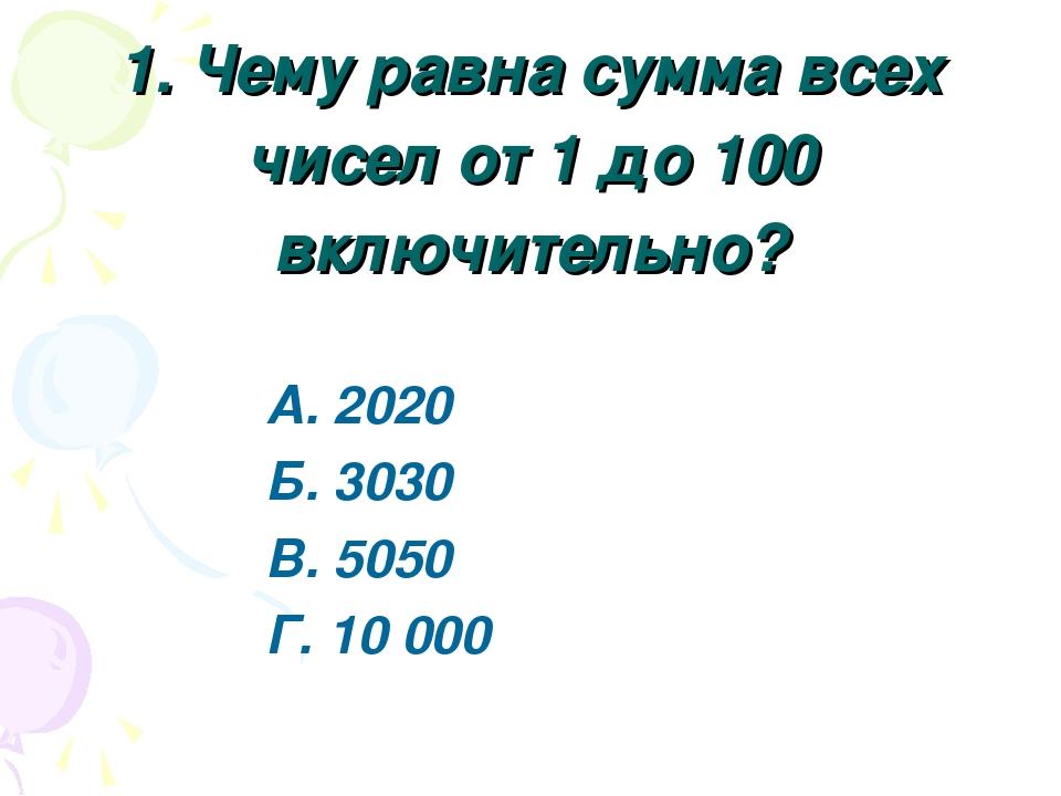 1. Чему равна сумма всех чисел от 1 до 100 включительно? А. 2020 Б. 3030 В. 5...