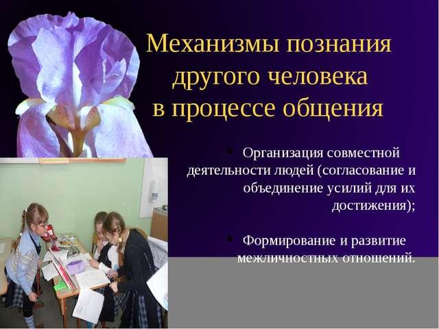 Механизмы познания другого человека в процессе общения Организация совместно...