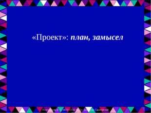 «Проект»: план, замысел Колесникова В. С. МОУ СОШ №12 г. Балашова Саратовско