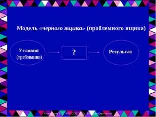 Модель «черного ящика» (проблемного ящика) (требования)   Результат  ? Усл