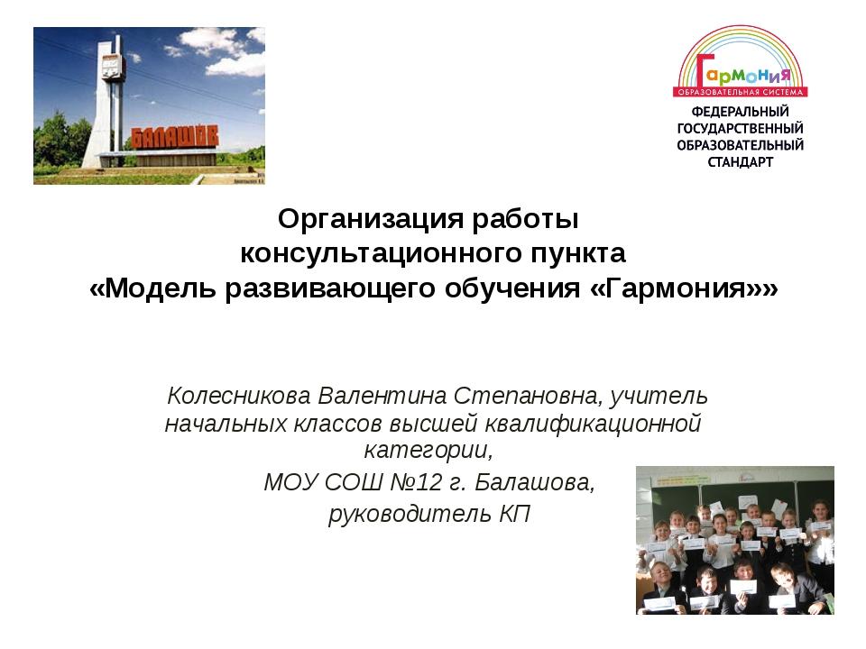 Организация работы консультационного пункта «Модель развивающего обучения «Га...