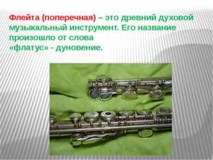 Флейта (поперечная) – это древний духовой музыкальный инструмент. Его названи