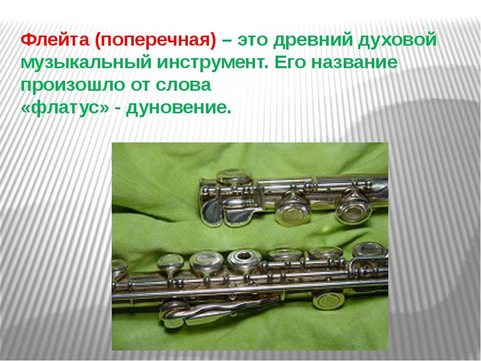 Флейта (поперечная) – это древний духовой музыкальный инструмент. Его названи...