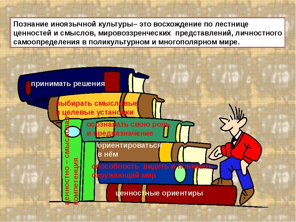 Познание иноязычной культуры– это восхождение по лестнице ценностей и смыслов...