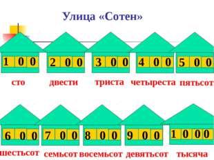 Улица «Сотен» 1 0 0 2 0 0 3 0 0 4 0 0 5 0 0 6 0 0 7 0 0 8 0 0 9 0 0 1 0 0 0 с