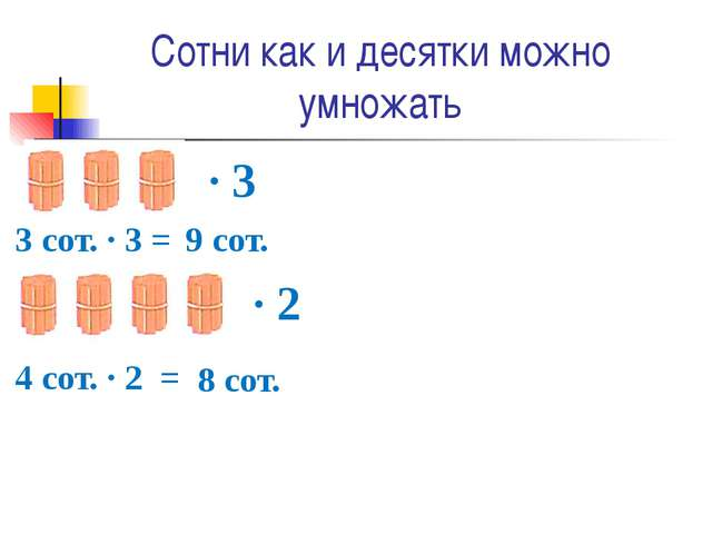 Сотни как и десятки можно умножать ∙ 3 3 сот. ∙ 3 = 9 сот. 4 сот. ∙ 2 = 8 сот...