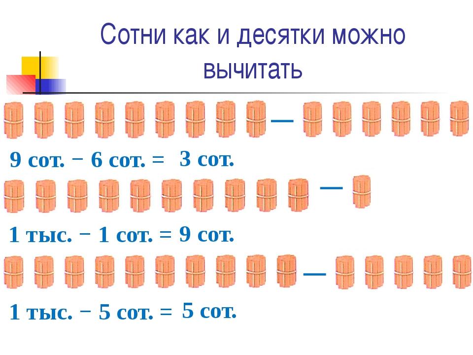 Сотни как и десятки можно вычитать ─ 9 сот. − 6 сот. = 3 сот. ─ 1 тыс. − 1 со...