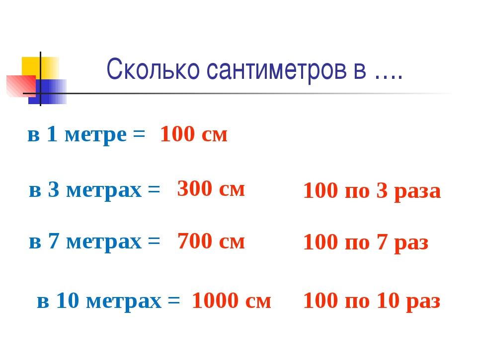 Сколько сантиметров в …. в 1 метре = 100 см в 3 метрах = 300 см в 7 метрах =...