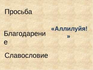 Просьба Благодарение Славословие «Аллилуйя!»