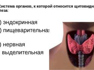 2. Система органов, к которой относится щитовидная железа: а) эндокринная б)