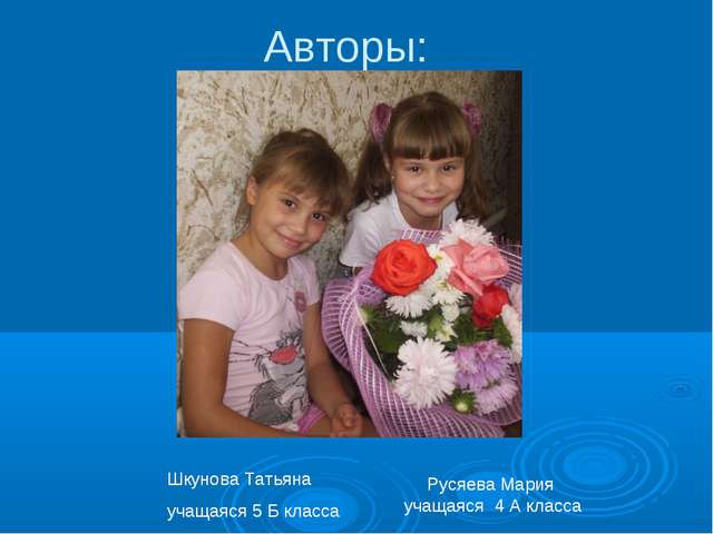 Авторы: Русяева Мария учащаяся 4 А класса Шкунова Татьяна учащаяся 5 Б класса