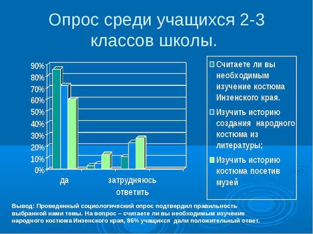 Опрос среди учащихся 2-3 классов школы. Вывод: Проведенный социологический оп...