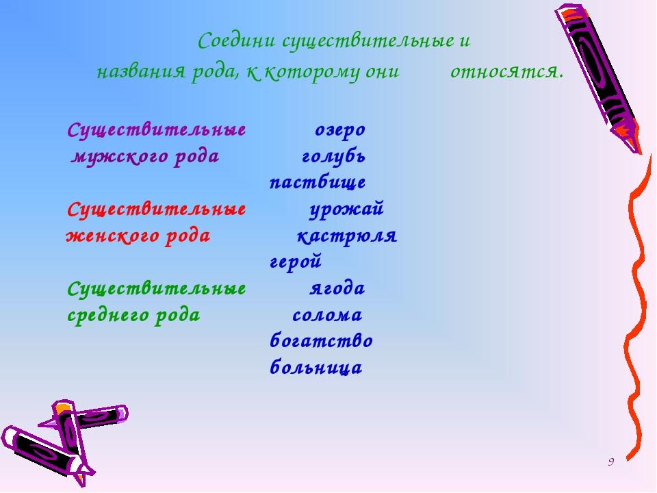Соедини существительные и названия рода, к которому они относятся. Существи...