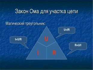 Закон Ома для участка цепи Магический треугольник: I=U/R R=U/I U=IR