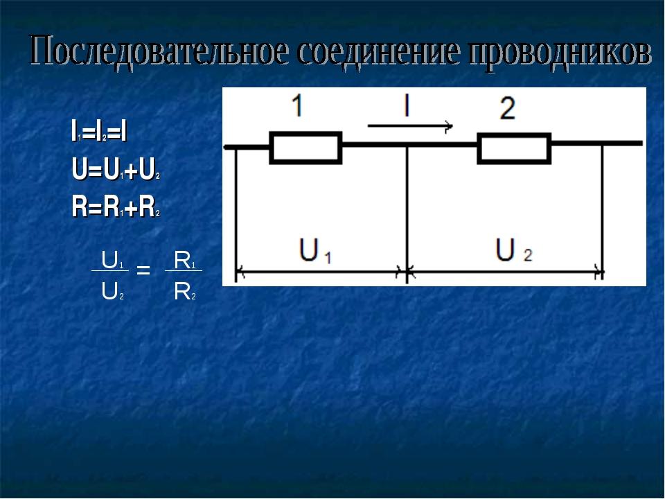 I1=I2=I U=U1+U2 R=R1+R2 U1 R1 U2 R2 =