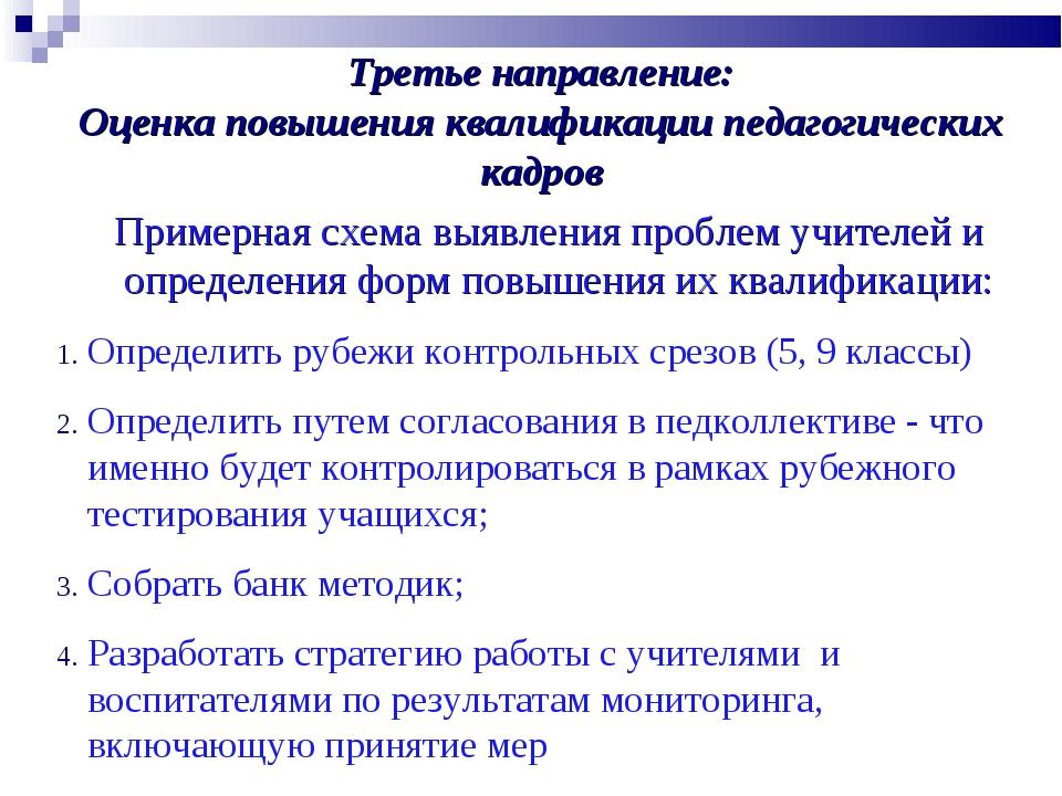 Третье направление: Оценка повышения квалификации педагогических кадров Приме...