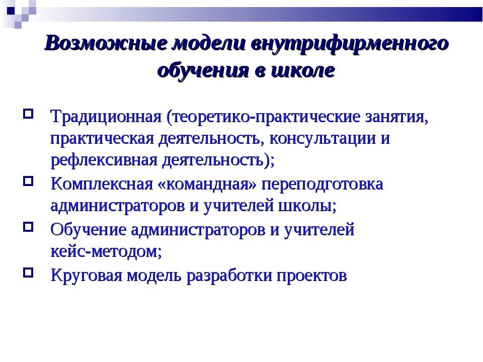 Возможные модели внутрифирменного обучения в школе Традиционная (теоретико-пр...