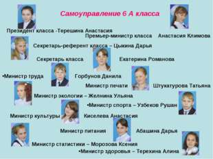 Самоуправление 6 А класса Президент класса -Терешина Анастасия Премьер-минист