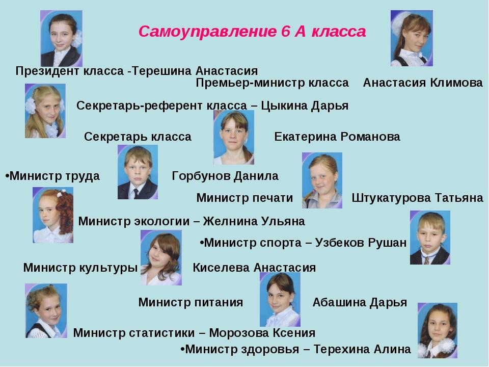 Самоуправление 6 А класса Президент класса -Терешина Анастасия Премьер-минист...