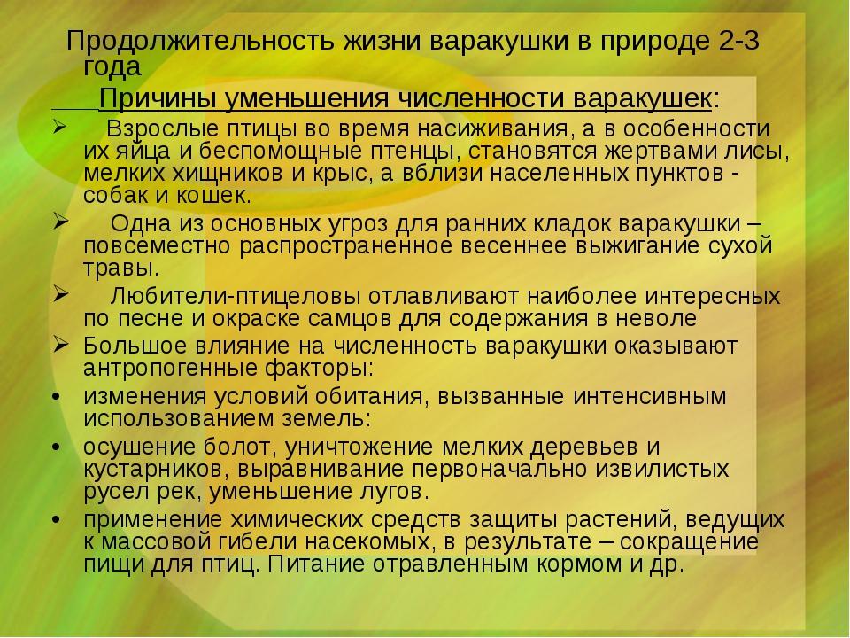 Продолжительность жизни варакушки в природе 2-3 года Причины уменьшения числ...