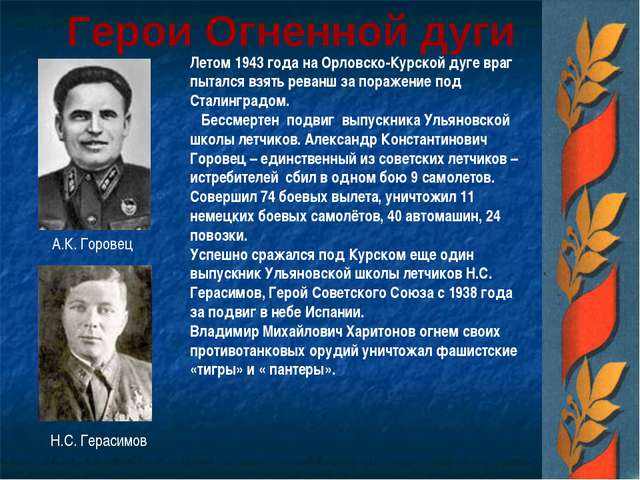 Герои Огненной дуги Летом 1943 года на Орловско-Курской дуге враг пытался взя...