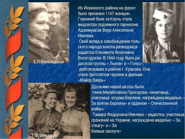 Е.П.Вологодская Н.М. Прохорова Т.Ф. Иевлева Из Инзенского района на фронт был...