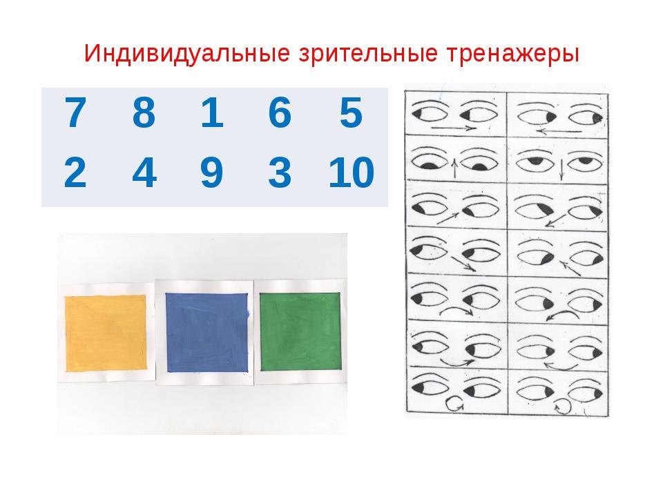 Индивидуальные зрительные тренажеры 7 8 1 6 5 2 4 9 3 10