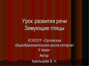 Урок развития речи Зимующие птицы КСКООУ «Орловская общеобразовательная школа