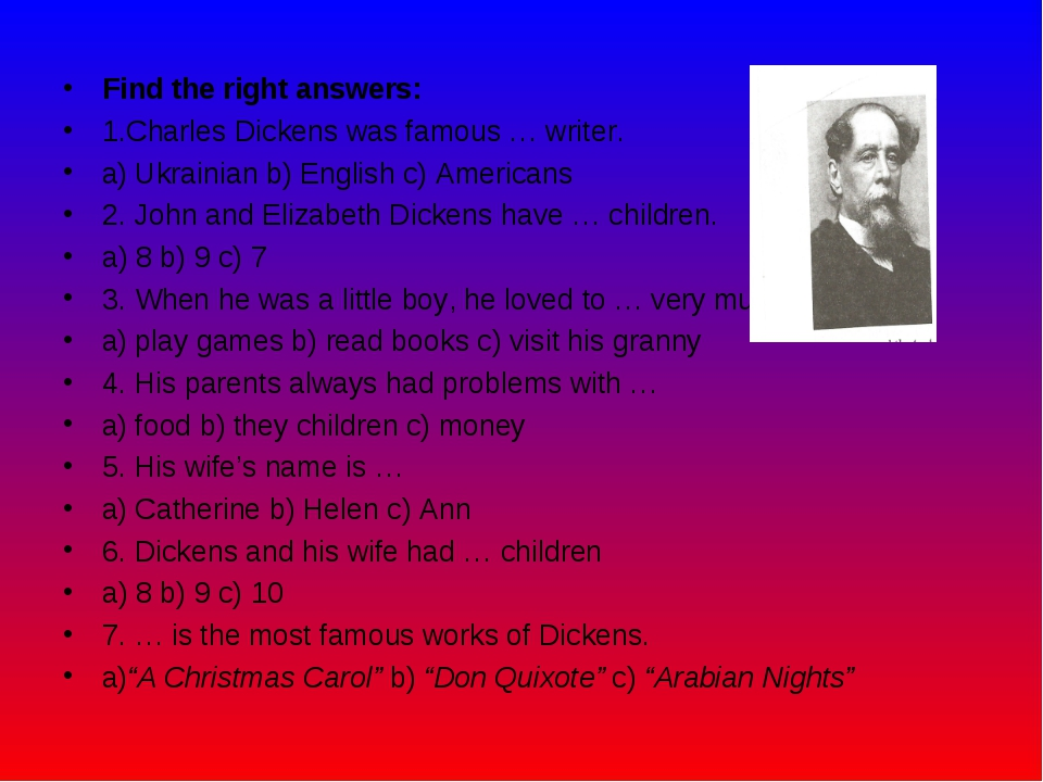Find the right answers: 1.Charles Dickens was famous … writer. а) Ukrainian b...