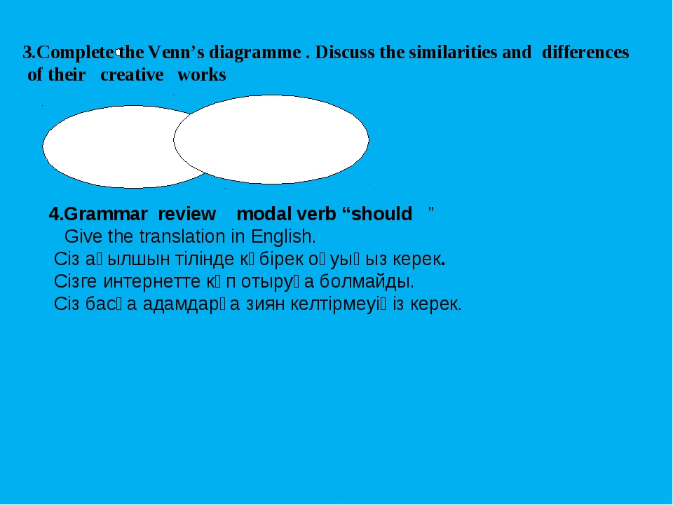 3.Complete the Venn's diagramme . Discuss the similarities and differences of...