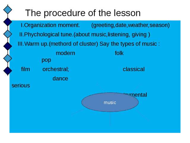 The procedure of the lesson I.Organization moment. (greeting,date,weather,sea...