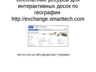 Бесплатные ресурсы для интерактивных досок по географии http://exchange.smart