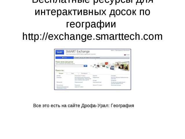 Бесплатные ресурсы для интерактивных досок по географии http://exchange.smart...