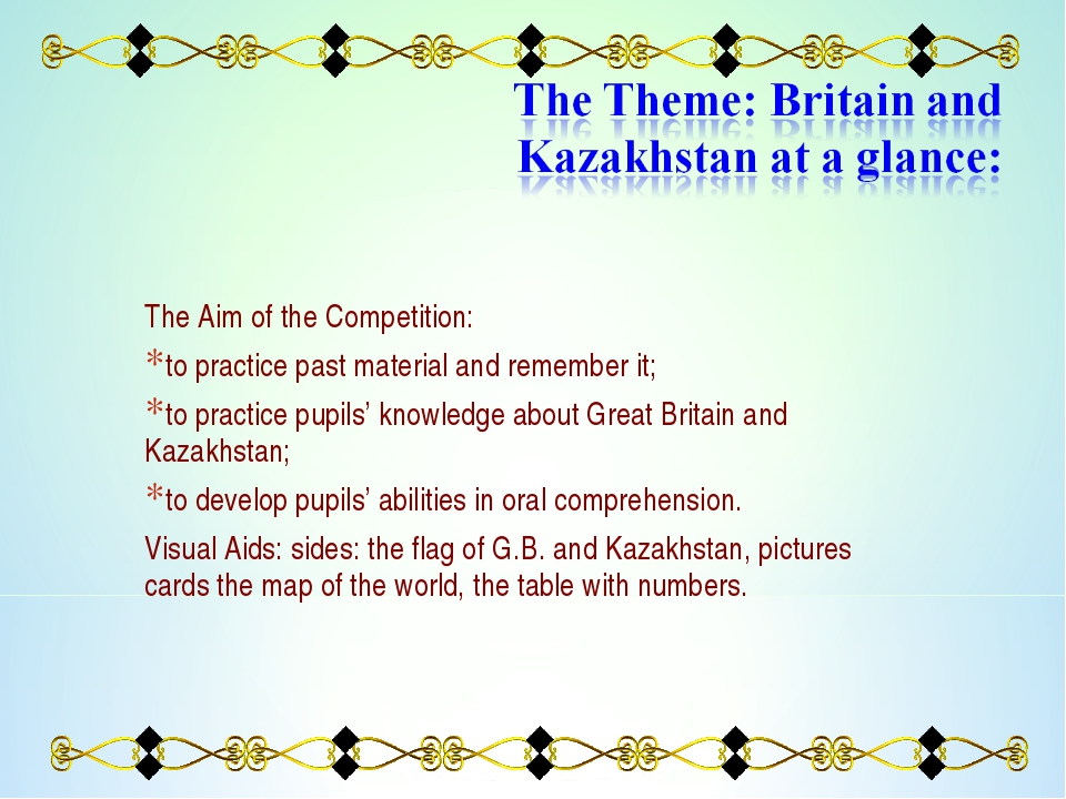 The Aim of the Competition: to practice past material and remember it; to pra...