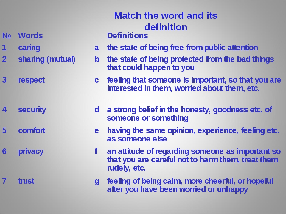 Match the word and its definition №WordsDefinitions 1caringathe state o...