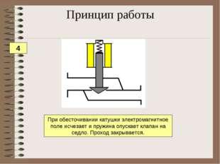 При обесточивании катушки электромагнитное поле исчезает и пружина опускает к