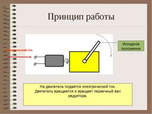 Принцип работы На двигатель подается электрический ток. Двигатель вращается и