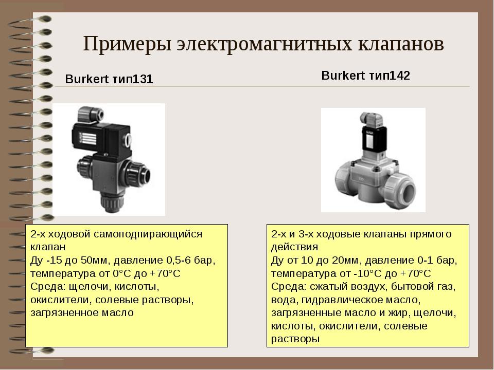 Примеры электромагнитных клапанов 2-х ходовой самоподпирающийся клапан Ду -1...