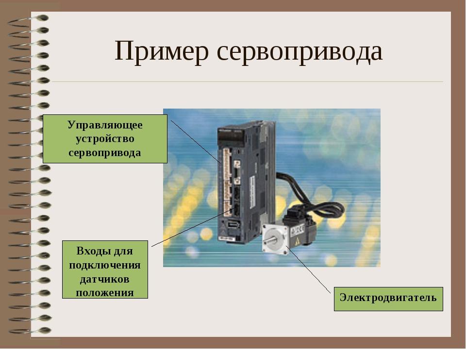Пример сервопривода Управляющее устройство сервопривода Электродвигатель Вход...