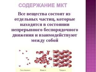 Все вещества состоят из отдельных частиц, которые находятся в состоянии непр