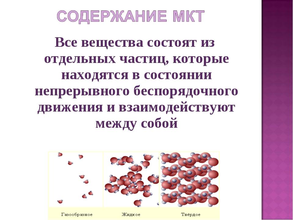 Все вещества состоят из отдельных частиц, которые находятся в состоянии непр...